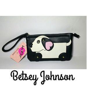 NWT LUV BETSEY JOHNSON Dog Print Wristlet Clutch